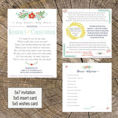24 best virtual long distance baby shower images on pinterest boy long distance baby shower 5x7 invitation 5x5 insert and 5x5 wishes card shower by filmwisefo