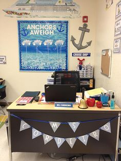 The teacher picked a nautical theme for her all boy classroom. She used lots of blues to make a subtle classroom theme that looks clean, neat and organized. Classroom Layout, 4th Grade Classroom, High School Classroom, New Classroom, Kindergarten Classroom, Classroom Themes, Sailing Classroom Theme, Classroom Organization, Classroom Signs