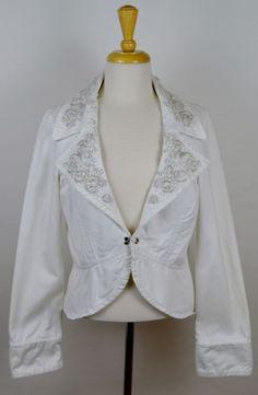 Twill 22 Anthropologie Women's Solid White Single Latch Beaded Jacket Large #Twill22 #BasicJacket