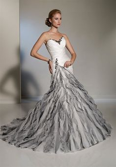 Unexpected surprise from Sophia Tolli who does traditional dresses.  Great for the bride who wants to stand out.