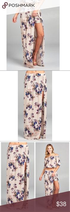 Floral Print Maxi Skirt W/Shorts Perfect skirt if you want to show a lot of leg and not your undies :)  Beautiful Floral patterned Maxi skirt with shorts underneath for coverage Skirts Maxi