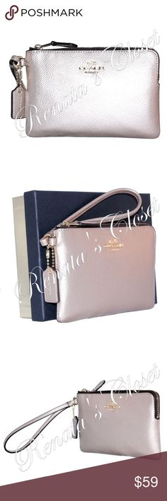 """Coach Boxed Corner Zip Wristlet * style # 58423B LILH4 * UPC # 889532696284 * made in Vietnam * color - Light Gold/Platinum * metallic leather * 2 interior credit card slots * 6""""L x 0.5""""W x 4""""H * wrist strap w/ 6"""" drop * zip closure * fully lined interior * will fit regular-sized iPhone or Android  * packaged in a limited edition 75th Anniversary Coach gift box, ready for gifting * gold-toned hardware * smoke-free home * listing will be videotaped while packing to protect seller from…"""