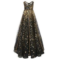 Naeem Khan Strapless Hand Painted Lace Gown Gold/Black | Ball Gowns |... ❤ liked on Polyvore featuring dresses and naeem khan
