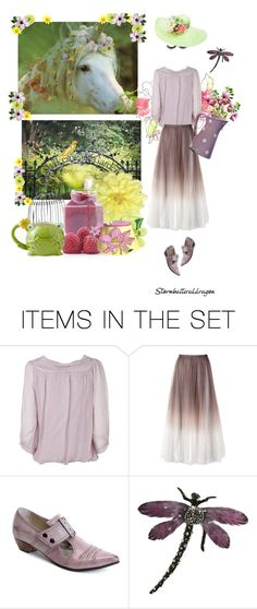 """Shy Girl, Enchanted Garden"" by stormbattereddragon ❤ liked on Polyvore featuring art, madam foo foo hat, shy girl, fluevog, unicorn, frog, garden and jam"