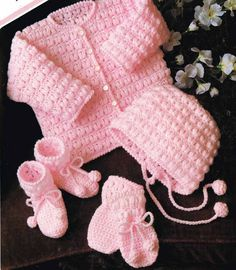 baby cardigan and bonnet set vintage crochet pattern PDF instant download