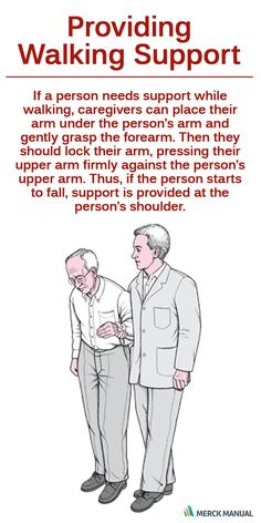 If a person needs support while walking, family members or caregivers can place their arm under the person's arm and gently grasp the forearm. Then they should lock their arm, pressing their upper arm firmly against the person's upper arm.