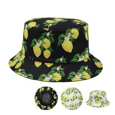 New Unisex Boonie Hawaiian Bucket Hat Lemons Fruit Print Fishing Outdoor Sun  Cap  Goldtop   bb4913dce948