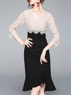 acb629d6f95d Stylewe V Neck Black Elegant Mermaid Party Paneled Midi Dress Party Sirena