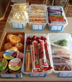 """I'm totally going to do this when school starts! I love this idea! Kiddos pick the number of servings shown on the front from each bin. Holly will say I ruined it once I """"whole grain it up"""", but so much more fun than making sandwiches every day!  Bin 1 - popcorn or veggie straws (I'll mix it up with what they call """"junk food"""") Bin 2 - goldfish, rice and ritz crackers (again, I'll mix them up but they don't have to have the same thing everyday) Bin 3 - fruit to go and fruit & veggie source…"""