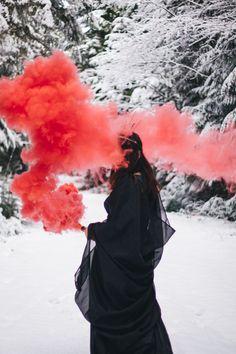 Snow Queen - Evil Queen  Creative Shoot / Smoke Grenade/ Smoke Bomb / Mt. Baker, WA / PNW  Elsa & Co Photography