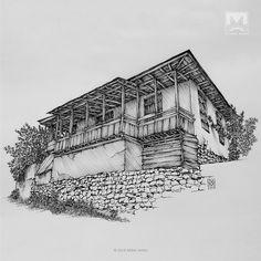 AFSHIN AMINI ART STUDIO | #AfshinAminiArt #PenAndInkDrawing #Sketchbook #Art #Architecture #Drawing #Sketching #PenDrawing #InkDrawing Persian Architecture, Vernacular Architecture, Drawing Scenery, Building Drawing, Perspective Art, Art Drawings Beautiful, House Sketch, Ink Pen Drawings, Fantasy House