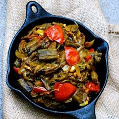 Okra in Masala - Okra cooked with spices, onions and tomatoes.