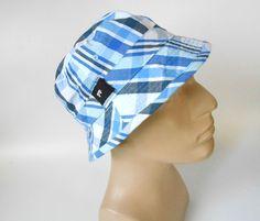 f30af45ed1e Shaw Park Bucket Hat REVERSIBLE Blue Plaid Print White 100% Cotton One Size   ShawPark