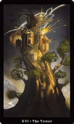 The Tower is related to the number 16 which is a karmic number. 16 asks that you keep your feet on the path of higher learning. The number 16 reduces to the number 7 which is called the 'Sacred spiritual number' - the number of the mystic. The 7 vibration represents rest, contemplation, spirituality, sensitivity, sympathy and mastery. 7 indicates a time of solitude and asking questions of oneself. {The Tower - Steampunk Tarot}