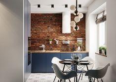 Фотография Loft Kitchen, Kitchen Dinning, Kitchen Decor, Dining Rooms, Kitchen Ideas, Kitchen Island, Blue Kitchen Interior, Bathroom Interior, Industrial Home Design