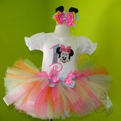 Pink n Blue Pastel Minnie Mouse Birthday Tutu Outfit