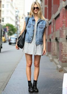 look dress denim vest