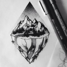 drawing Illustration landscape mountains forest rocks stippling tattoo art Dotwork tattoodesign the magic society