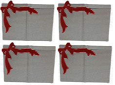 d Stevens Black White Stripe w/ Red Bow Christmas Placemats, Set of 4