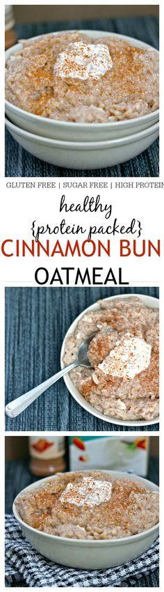 Healthy Cinnamon Bun Oatmeal- The taste and texture of a classic cinnamon bun in a healthy oatmeal form! {vegan, gluten free, sugar free}