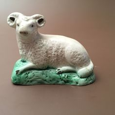 """Unusual Rare Antique Early Staffordshire Pearlware Pottery Figure of a Ram 2.4""""x3.1""""long fine hairline at front lower right, near leg  small chip at front edge near base £91"""
