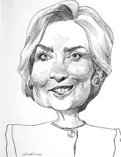 """Hillary Clinton"" - by David Levine"