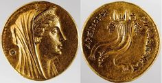 Greek Gold , Eight-drachma coin (octodrachm), 261-252 BCE  This coin is unusual not only because it is gold, but also because it portrays a woman, Arsinoe II, who ruled Egypt alongside her husband Ptolemy II.   Although her reign was short, she was an exceedingly popular ruler, and was deified by her people almost immediately upon her death.   She is shown here wearing a diadem and veil, both symbols of ancient religion. To the left of her head are the horns of Zeus Ammon...
