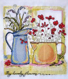 Completed Counted CrossStitch Flowers in Cans