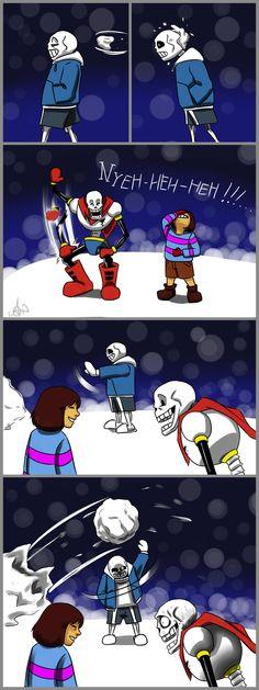 sans, papyrus, frisk - Snowball-Nyeh! by AmSheegar on DeviantArt