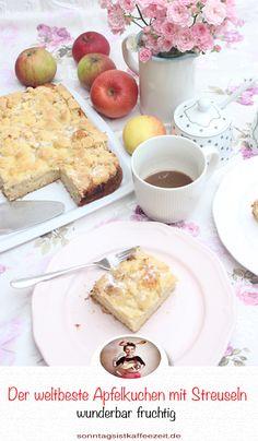 Dieser Apfelkuchen mit Streuseln hat die köstlichste, saftigste und perfekte Apfelkuchen-Füllung. Er nimmt einen einfachen frischen Apfelkuchen und übersteigt ihn mit dem klassischen und knusprigen Apfel-Haferflocken sowie dem braunen Zucker. Er ist übergossen mit knusprigen, aromatischen Streuseln und ist der perfekte, stressfrei und garantiert blitzschnelle Herbstkuchen. #apfelkuchenrezepte #apfelkuchen #apfelkuchenrezepteinfach #apfelkuchenmitstreuseln #sonntagsistkaffeezeit
