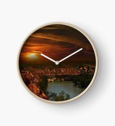 #River #Murray #Clock #Sunset #Renmark #Riverland #South #Australia #Wooden #Wallclock, River Murray As It Weaves Its Way Through High Cliffs At Sunset. Clock