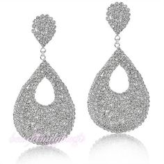 Wedding White Swarovski Crystals Earrings dangles round settings 18k GP E186 #Bearfamilybirth #DropDangle
