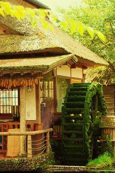 house with waterwheel in Oshinohakkai, Yamanashi, Japan