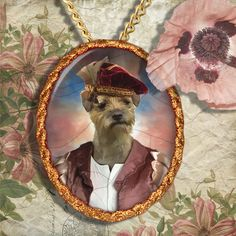 Border Terrier Amazing collection of HANDCRAFTED CERAMIC (Porcelain) Pendants, hand glazed and high fired with the classical gilded frame or platinum,