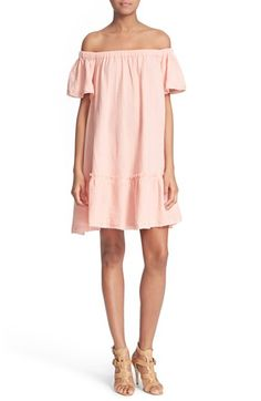 blush off the shoulder cotton dress / this is the perfect dress for any summer vacation