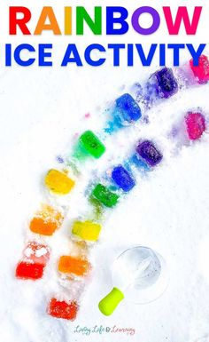 We're obsessed with this super Fun Rainbow Ice Activity! A simple and fun way to color the snow and get the kids creative as well! Rainbow Activities, Snow Activities, Winter Activities For Kids, White Poster Board, Rainbow Slime, Ice Show, Messy Play, How To Make Snow, Slime Recipe