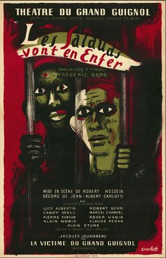 """Poster for """"Les salauds vont en enfer"""" (The Wicked Go to Hell) at the Grand Guignol theatre in Paris"""