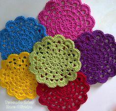 Tecendo Artes em Crochet: Porta Copos Coloridíssimos!
