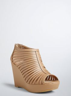 Plus Size Strappy Mesh Wedge Booties (Wide Width), NUDE