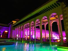 This is the lobby of the Paradisus Palma Real at night. Its lively in the night, as there are a number of restaurants and bars in the courtyard. So fun!