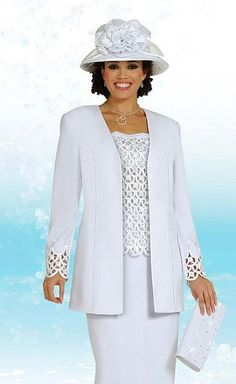 ebony ladies dress suits | White Church Suits for Women BenMarc