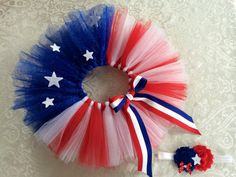 Patriotic, Fourth of July, American Flag TuTu. Red, White and Blue TuTu with glitter tulle, stars & matching ribbon.  Headband included on Etsy, $35.00