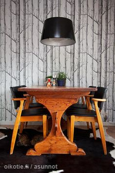 Domus chairs by Ilmari Tapiovaara. Finnish kitchen.