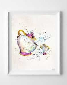 Mrs Potts Art Mme Potts impression beauté et la par InkistPrints