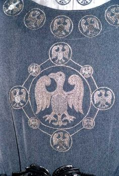 High Medieval Age Men's Garment sample with imperial eagle pattern in silver embroidery c. 1350