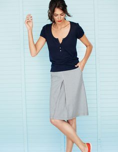 Inverted Pleat Skirt WG433 Above Knee Skirts at Boden