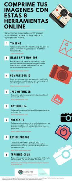 Hola: Una infografía con8 herramientas online para comprimir imágenes. Vía Un saludo