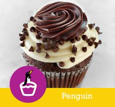 Penguin CAKE Chocolate with Chocolate Chips FILLING Ganache TOPPING Cream Cheese Icing, Mini Chocolate Chips & a Ganache Dollop
