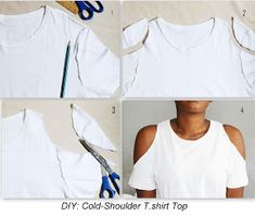Skynotfancy diy cold shoulder t shirt DIY Dress Ideas - New season has arrived and it brings warm weather and cute dresses and skirts with it. You may already be looking for shopping the nice budget friendl. diy fashion clothes that look gorgeous 271251 S Zerschnittene Shirts, Diy Cut Shirts, T Shirt Diy, Diy T Shirt Cutting, How To Cut Tshirt, Cut Tshirt Ideas, Cut Shirt Designs, Band Shirts, T-shirt Refashion