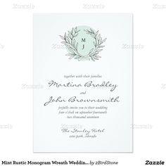 "Mint Rustic Monogram Wreath Wedding Invitation 5"" X 7"" Invitation Card"